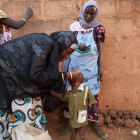 A Nigerian child is given the polio vaccine