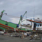 Boats washed ashore in Aceh, Sumatra, by 2004 tsunami