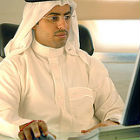 Arab man using computer