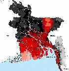 Pink/red denotes land within ten metres above sea level in Bangladesh