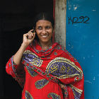 Bangladeshi on mobile phone