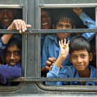 Children on a bus in New Delhi, India