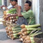 Selling cassava in Indonesia