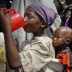 Children drinking water in Somalia