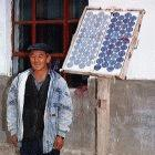 Solar panels at a home in the Xinjiang Autonomous region of western China