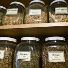 Jars with medicinal herbs