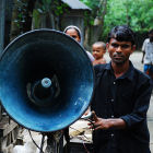 Cyclist with megaphone, Bangladesh