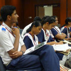 Students attend a TWAS meeting in Hyderabad, India