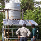 A solar-powered water tank in Ethiopia
