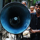 Man with loudspeaker in Bangladesh