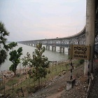 The Rail-Road Bridge  on Godavari River in Andhra Pradesh state in south India