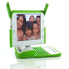 Green and white laptop for children