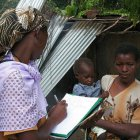 Health worker conducting survey in Mozambique