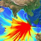 Analysis of the 12 September 2007 quake, with tsunami waves in red