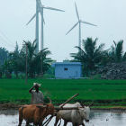 Indian farmer and wind turbines