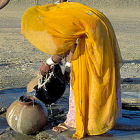 Getting water from well in India