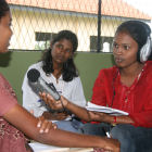 Journalist conducts interview in Sri Lanka