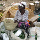 Kenyan farmer selling vegetables