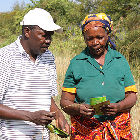 A researcher with a farmer in Kenya