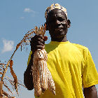 A maize farmer in Tanzania