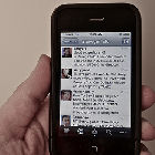 Twitter feed on a mobile phone