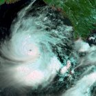 Cyclone Nargis moving across the Bay of Bengal on 1 May 2008