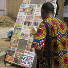 Newspaper stall in Côte d'Ivoire