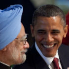 US president Obama with Indian president Manmohan Singh by Official White House Photo, Pete Souza