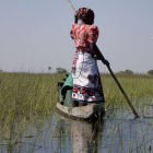 A woman on a canoe in Okavango Delta, Botswana