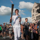 Runner with Olympic torch