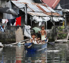 Children in a flooded street