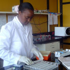 An agricultural researcher in Kenya