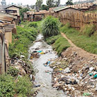 Polluted river in Kenya