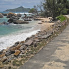 Protective stone wall by the roadside, Seychelles