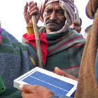 A solar lantern demonstration in India
