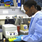 A researcher in the bio lab
