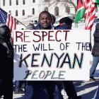 A demonstrator at a march against Kenyan violence