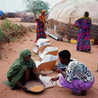 Women in Ethiopia at solar powered stoves