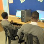 African kids using computers