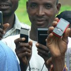 Farmers with mobile phones