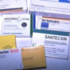 Photo of packaging of numerous anti-malarial drugs