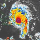 Satellite image of tropical cyclone Marilyn approaching islands in the Caribbean, 1995
