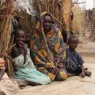 A family at an internally displaced persons camp in Sudan