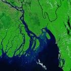 2002 Satellite image of swollen Jamuna river flooding Bangladesh