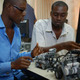 African inventors with their robots