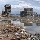 Houses in Indonesia damaged by last year's tsunami