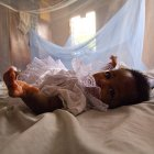 Infant under bednet