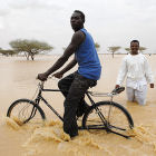 Cycling through flood, Sudan