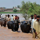 Displaced people wading through river