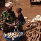Woman peeling cassava